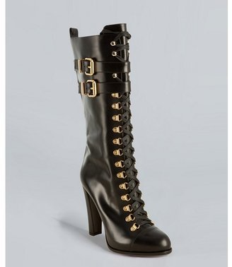 Fendi black leather lace-up buckle boots