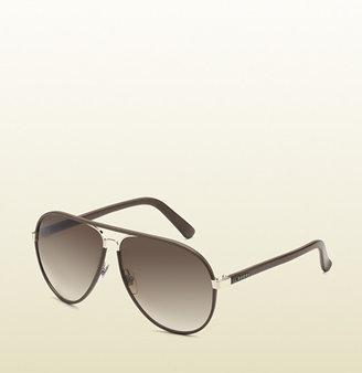Gucci Medium Aviator Sunglasses With Logo On Temple.