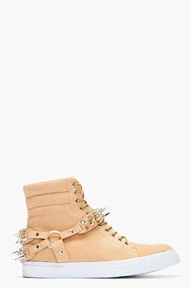 Jeffrey Campbell Light Brown Nubuck Spike Sneakers