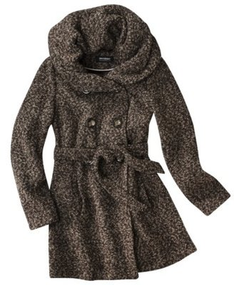 Coffee Shop Junior's Hooded Double Breasted Wool Peacoat with Belt -Assorted Colors