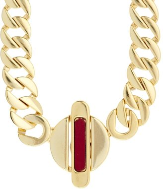 Gogo Philip Leather Insert One Link Necklace - Red