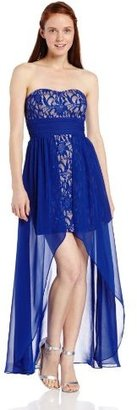 Adrianna Papell Hailey Logan by Juniors Strapless Lace Chiffon Dress