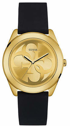 GUESS Goldtone Silicone Strap Watch W0933L2
