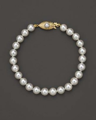 Bloomingdale's Cultured Akoya Pearl Bracelet in 14K Yellow Gold, 6.5mm