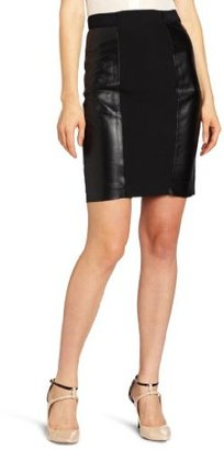 Tracy Reese Women's Leather Combo Skirt