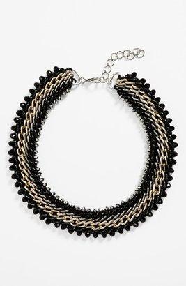 Topshop Cone & Chain Collar Necklace Black/ White