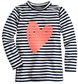 J.Crew Girls' rash guard in neon heart