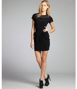 Isabel Marant black woven studded tiered pleat dress