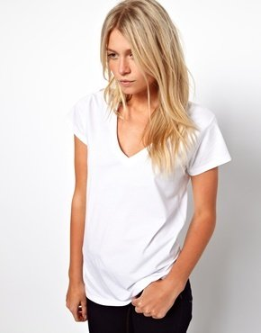 Asos T-Shirt with V Neck - White