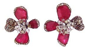 Arunashi Ruby Orchid Earrings with Diamonds and Sapphires