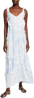 PQ Swim Ruffle-Trim Long Coverup Maxi Dress
