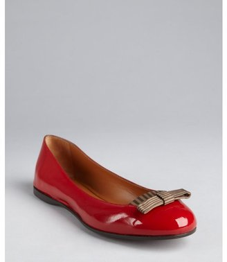 Fendi red patent leather striped bow detail flats