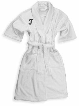 "100% Cotton Monogrammed Letter ""T"" Bathrobe in White $39.99 thestylecure.com"