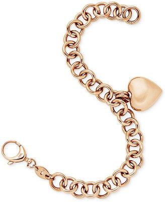 Fossil Rose Gold-Tone Linked Heart Charm Bracelet