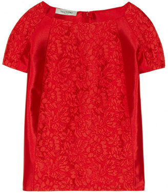 Valentino Cotton-blend lace and silk-twill top