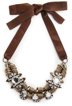 MANGO Crystal Embellishment Ring Necklace