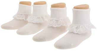 Jefferies Socks Sisters 4-Pack (Infant/Toddler/Little Kid/Big Kid) (White) Girls Shoes