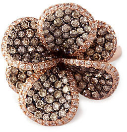 EFFY Espresso Brown Diamond Flower Ring in 14 Kt. Rose Gold, 2.29 ct. t.w.