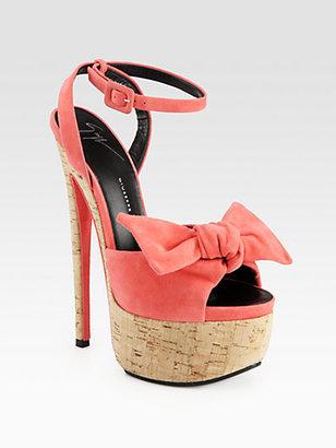 Giuseppe Zanotti Suede Bow Cork Platform Sandals