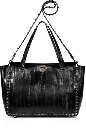 Valentino Black Leather Rockstud Tote with Shoulder Strap