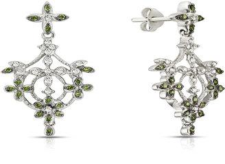 Ice.com Green & White Diamond Drop Earrings 1/2 ct. tw. In Sterling Silver