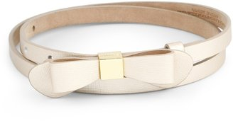 C. Wonder Saffiano Leather Skinny Bow Belt