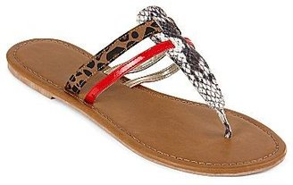 JCPenney Mixed-Print T-Strap Thong Sandals