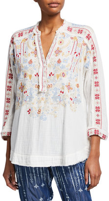Johnny Was Malaika Embroidered Gauze Blouse
