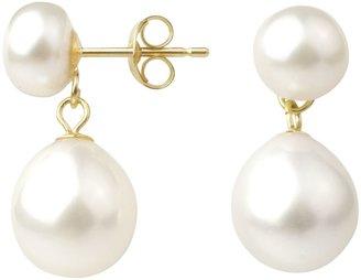 A B Davis 9ct Gold Freshwater Pearl Double Drop Earrings