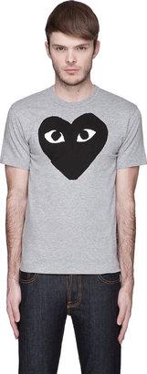 Comme des Garcons Heather Grey Black Logo T-Shirt