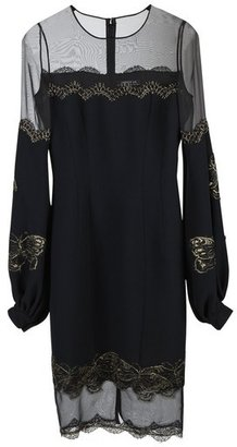Andrew Gn Embroidered Lace Black Dress