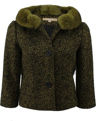 Michael Kors Three Button Jacket with Fur Collar