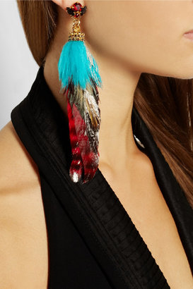 Swarovski VICKISARGE Artisan gold-plated, crystal and feather earring