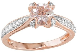 Rose rhodium-plated sterling silver morganite & 1/5-ct. t.w. diamond ring