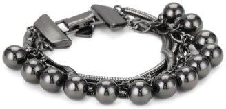 """Tuleste Market Snake Charmer"""" Pom Pom Snake Gunmetal Colored Bracelet"""