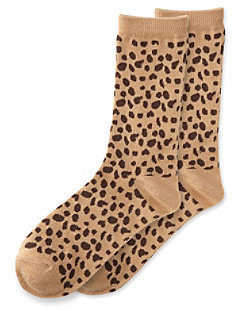 Relativity Leopard Print Crew Socks