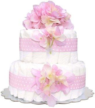 Bella Sprouts Two-Tier Diaper Cake - Pink Polka Dot Hydrangeas