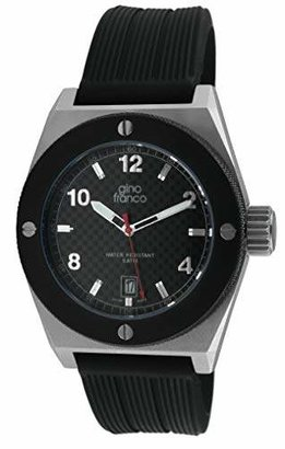 gino franco Men's 9658BK Round PVD Plated Stainless Steel Calf Leather Strap Watch