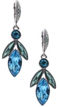 Givenchy Aqua and Light Sapphire Tone Crystal Medium Drop Earrings