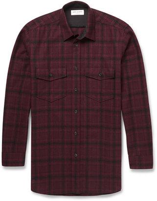 Saint Laurent Plaid Wool-Twill Shirt