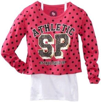 Southpole Girls 7-16 Twofer Dolman Sleeve Polka Dot Fashion Top