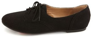 Charlotte Russe Sueded Lace-Up Oxford Flat