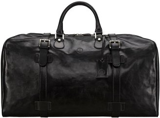 Maxwell Scott Bags Maxwell Scott Real Leather Extra Large Luggage Bag - Fleroel Black