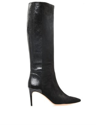 Alexandre Birman Suede and watersnake knee boots