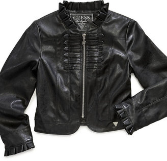 GUESS Jacket, Girls Faux-Leather Ruffled Moto
