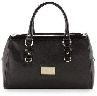 Versace Logo-Embossed Satchel Bag, Nero