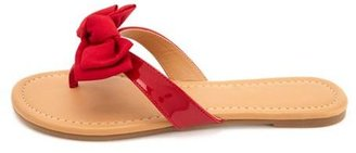 Charlotte Russe Bow-Topped Patent Thong Sandals