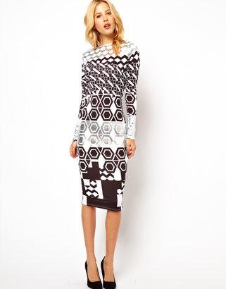 Asos Geocentric Foil Midi Dress