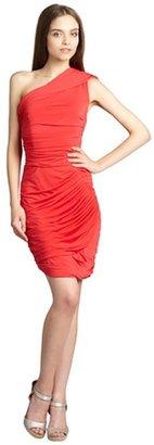 Vera Wang lipstick jersey one shoulder draped dress