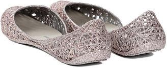 Melissa Campana Zig Zag Sandal Flat Silver Glitter